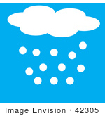 #42305 Clip Art Graphic Of A Hailing Cloud In A Blue Sky