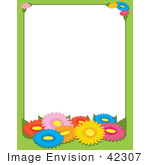 #42307 Clip Art Graphic Of A Colorful Daisy Flower Stationery Border