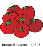 #42308 Clip Art Graphic Of A Group Of Tomatoes