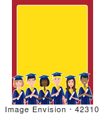 #42310 Clip Art Graphic Of A Border Of Diverse Graduates