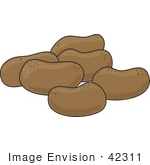 #42311 Clip Art Graphic Of A Group Of Potatoes