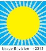 #42313 Clip Art Graphic Of A Bright Shining Sun Against Blue