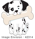#42314 Clip Art Graphic Of A Dalmatian Puppy Carrying A Big Bone In His Mouth