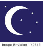 #42315 Clip Art Graphic Of A Night Sky With Stars And A Crescent Moon