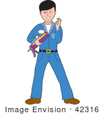 #42316 Clip Art Graphic Of A Handsome Caulking Guy