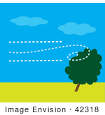 #42318 Clip Art Graphic Of Wind Blowing Against A Tree