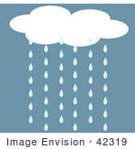 #42319 Clip Art Graphic Of Rain Cloud Pouring Water Down
