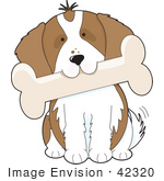 #42320 Clip Art Graphic Of A King Charles Puppy Carrying A Big Bone In His Mouth