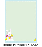 #42321 Clip Art Graphic Of A Bunny Rabbit Easter Border