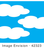 #42323 Clip Art Graphic Of A Blue And Puffy Cloud Sky