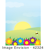 #42324 Clip Art Graphic Of A Sun Shining On Flowers Hills And A Bee