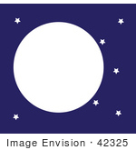 #42325 Clip Art Graphic Of A Night Sky With Stars And A Full Moon