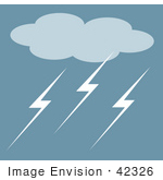 #42326 Clip Art Graphic Of A Stormy Cloud With Lightning