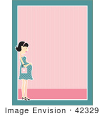 #42329 Clip Art Graphic Of A Pregnant Woman Border
