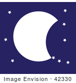 #42330 Clip Art Graphic Of A Night Sky With A Partial Moon And Stars
