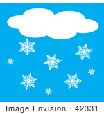 #42331 Clip Art Graphic Of A Blue Sky With A Cloud And Snowflakes