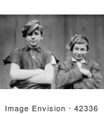 #42336 Stock Photo of Two Grinning Glassworker Boys Posing With Their Arms Crossed In1909 by JVPD