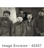 #42337 Stock Photo of a Group Of Dirty Breaker Boys Working The Coal Mines In 1911 by JVPD