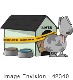 #42340 Clip Art Graphic Of a Homeless Dog Outside His Foreclosed House by DJArt