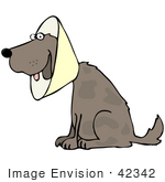 #42342 Clip Art Graphic Of A Recovering Dog Wearing A Collar Cone