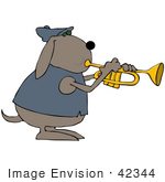 #42344 Clip Art Graphic Of A Dog Blowing A Trumpet
