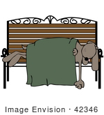 #42346 Clip Art Graphic Of A Dog Sleeping On A Bench