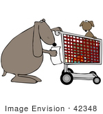 #42348 Clip Art Graphic Of A Puppy In A Cart Shopping With Its Mom Or Pop