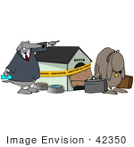 #42350 Clip Art Graphic Of a Sad Dog Being Kicked Out Of His Foreclosed Home by DJArt
