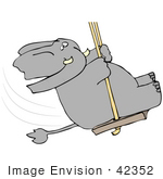 #42352 Clip Art Graphic Of An Elephant Swinging