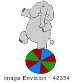#42354 Clip Art Graphic Of An Elephant Walking On A Circus Ball