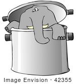 #42355 Clip Art Graphic Of An Elephant In A Pot