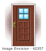 #42357 Clip Art Graphic Of A Brick Home's Door by DJArt