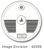 #42359 Clip Art Graphic Of A Smoke Detector With A Test Button