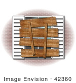 #42360 Clip Art Graphic Of A Foreclosed Or Condemned Home With A Boarded Up Window by DJArt