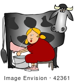 #42361 Clip Art Graphic Of A Cow&Rsquo;S Udder Squirting A Lady In The Face