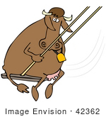 #42362 Clip Art Graphic Of A Swinging Cow