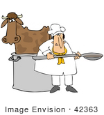 #42363 Clip Art Graphic Of A Cow In A Chef&Rsquo;S Pot