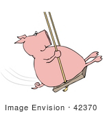 #42370 Clip Art Graphic Of A Swinging Pig