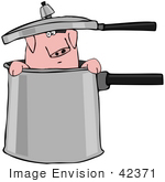 #42371 Clip Art Graphic Of A Pig In A Chefs Pot