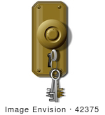 #42375 Clip Art Graphic Of A Key Ring In A Key Hole
