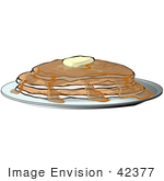 #42377 Clip Art Graphic Of Pancakes With Butter And Syrup