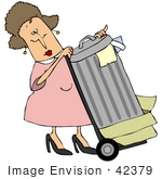 #42379 Clip Art Graphic Of A Lady Rolling Garbage To The Curb