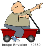 #42380 Clip Art Graphic of a Man Riding On A Red Wagon Toy by DJArt