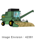 #42381 Clip Art Graphic Of A Farmer Driving A Harvester