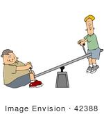 #42388 Clip Art Graphic Of Two Boys Skinny And Chubby Playing On A Teeter Totter