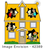 #42389 Clip Art Graphic Of Parents And Their Children In Different Rooms Of A House Using Computers