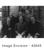 #42645 Black And White Stock Photograph Of Sigmund Freud, Granville Stanley Hall, Carl Gustav Jung, Abraham Arden Brill, Ernest Jones, And Sandor Ferenczi by JVPD