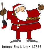 #42733 Royalty-Free (Rf) Clipart Illustration Of A Chubby Santa Holding A Paint Brush
