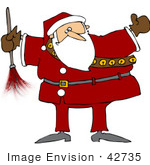 #42735 Royalty-Free (Rf) Clipart Illustration Of A Chubby Santa Holding A Feather Duster