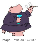 #42737 Clipart Illustration Of A Wealthy Pig In A Robe Drinking Champagne And Smoking A Cigar
